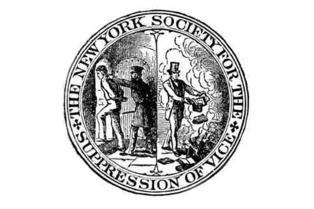 The logo for the New York Society for the Suppression of Vice, depicting a book being burned