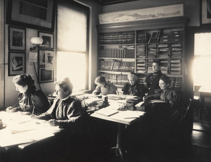 Women working at the Harvard Observatory, with Williamina Fleming (standing) supervising