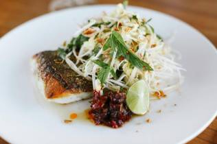 Pan roasted blue eye w green papaya salad nam jim dressing & lime