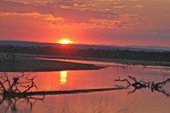 Sun setting over the Luangwa River