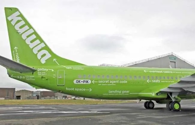 injecting brand personality, Kulula airline tail