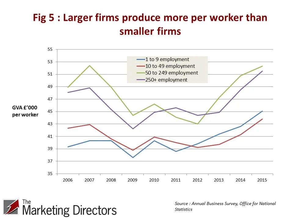 Larger firms produce more per worker than smaller firms