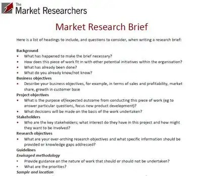 Market Research Agency The Market Researchers Example Market