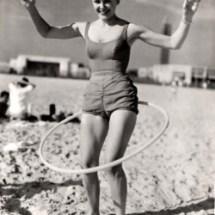 Retro woman exercising