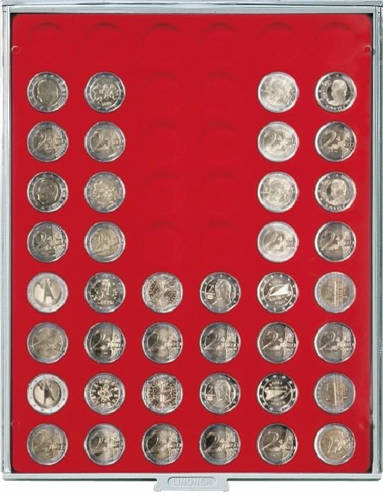 box rouge pour 54 pieces de 2 euros avec alveoles ronds 25 75mm lindner 2154