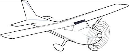 Malvorlage einmotoriges Flugzeug mit Propeller
