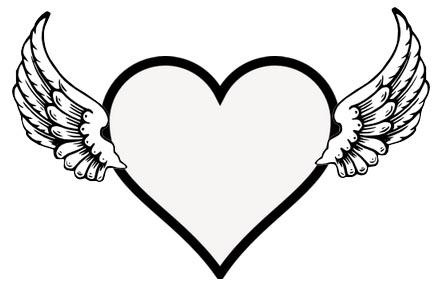 Herz mit Flügeln - fliegendes Herz Malvorlage
