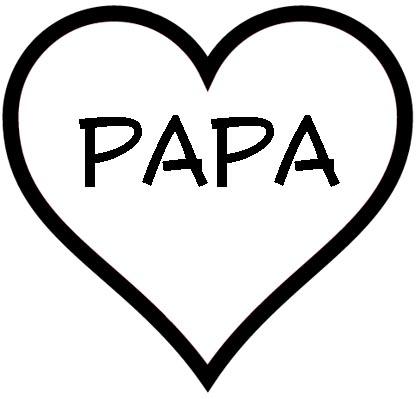 Herz mit Papa als Malvorlage - kostenloses Ausmalbild