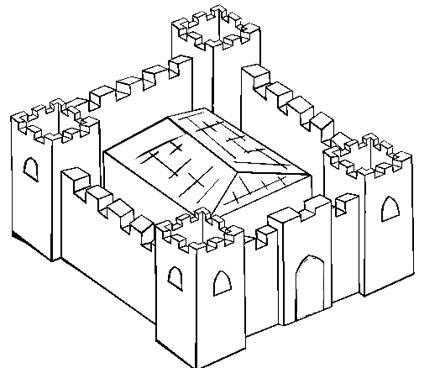 Ritterburg Malvorlage - Burg Bild zum Ausmalen