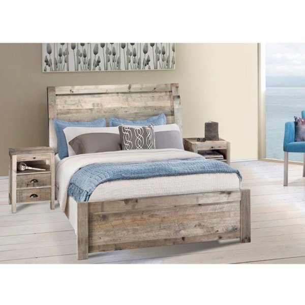 Antigua Bed with Caribbean Pedestals (Driftwood) - Queen Bed