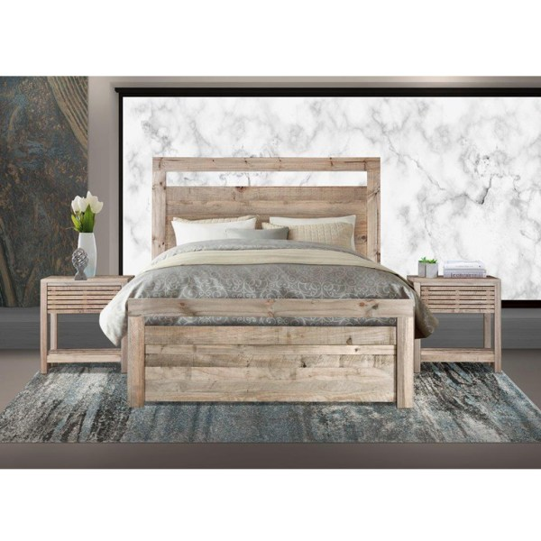 Carla Bed with Harrow Pedestals (Driftwood) - Queen Bed