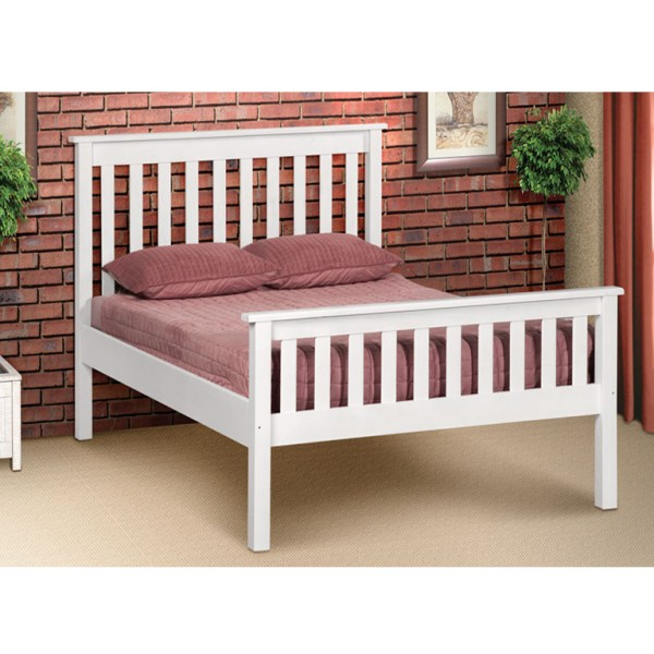 Charlene Hi-Foot Bed (White) - Double Bed