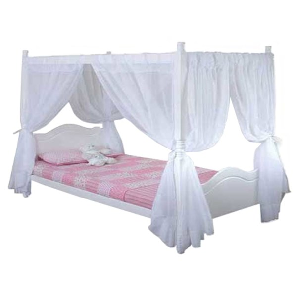 Princess 4 Poster Bed (White) - Three Quarter Bed