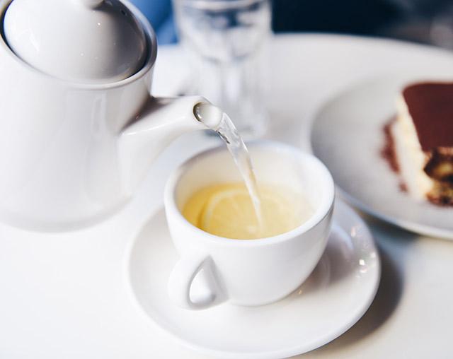 Preparing a cup of green tea