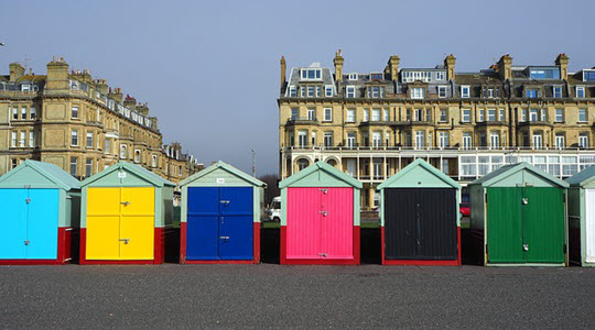 Colourful beach huts on Hove seafront