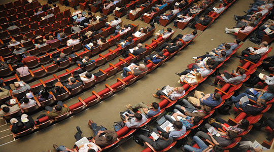top down view of seats in a conference hall
