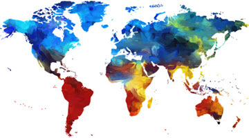 a map of the world in bright colours