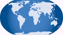 stretched image of the globe with the sea in dark blue and the land in light blue
