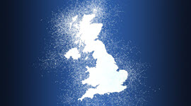 map of the UK with glowing white dust around it