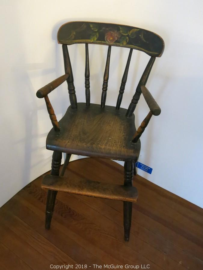 antique wooden high chair black computer the mcguire group llc auction on line of historic arlington county va estate