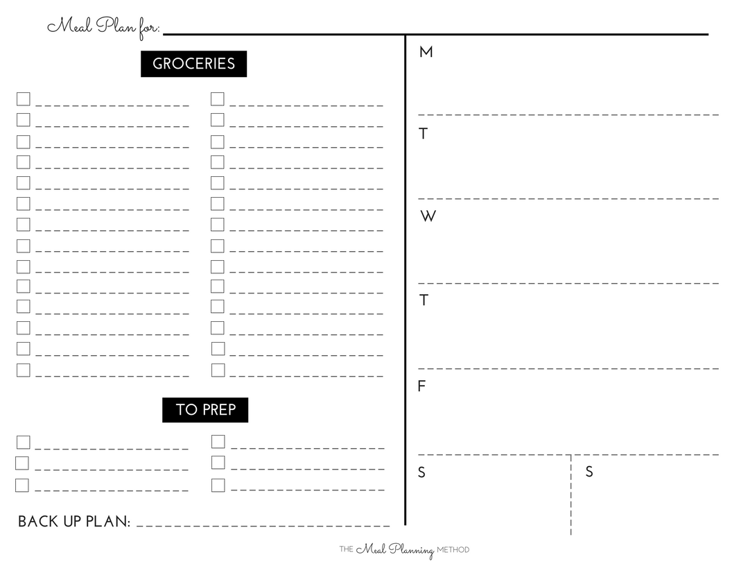Meal Planning Printable That Are Wild
