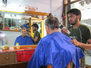 Getting my money's worth of a haircut before the shave begins.