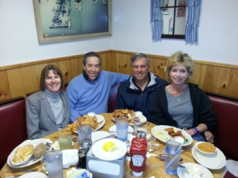 Vicki, Bob, Gabi and me at a restaurant in southern Maine last June.