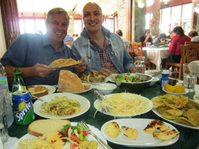 Typical island mezze in Maria's restaurant near Lefkara. No way could we finish all this.