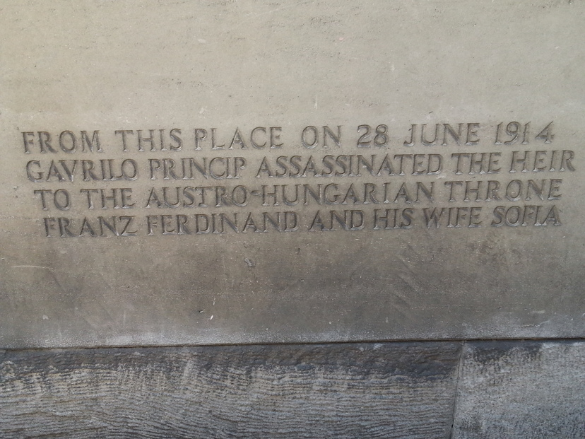 Plaque commemorating the 1914 assassination of Archduke Franz Ferdinand and his wife Sophia, which sparked World War I.