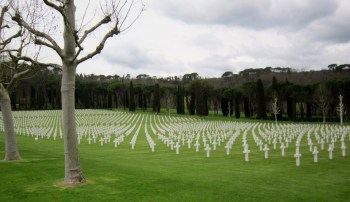 Some of the more than 4,000 markers honoring Americans who gave their lives during WWII.