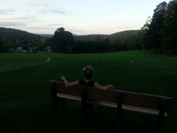 Gabi takes in the view from the bench we installed in my mother's honor