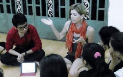 Talking to the dance students