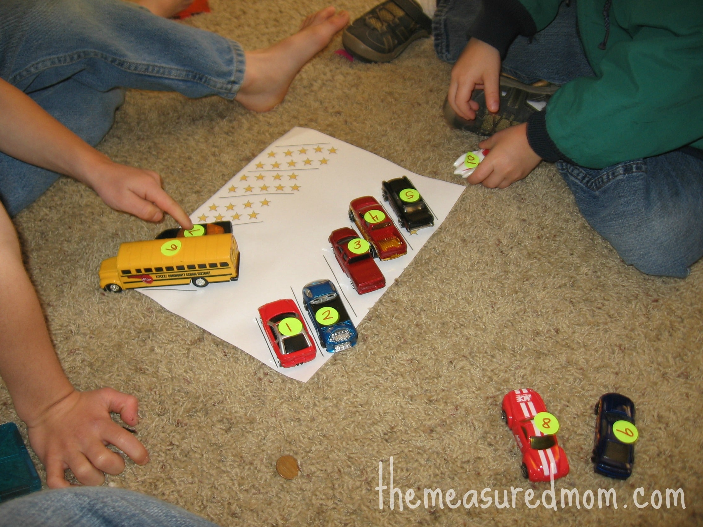 8 Preschool Math Ideas Using Toy Vehicles