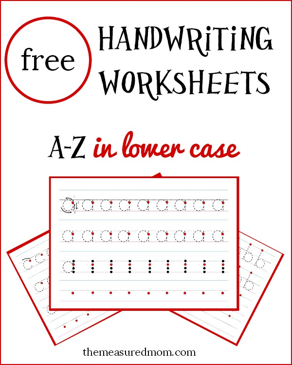 Free lowercase handwriting worksheets on four lines  The