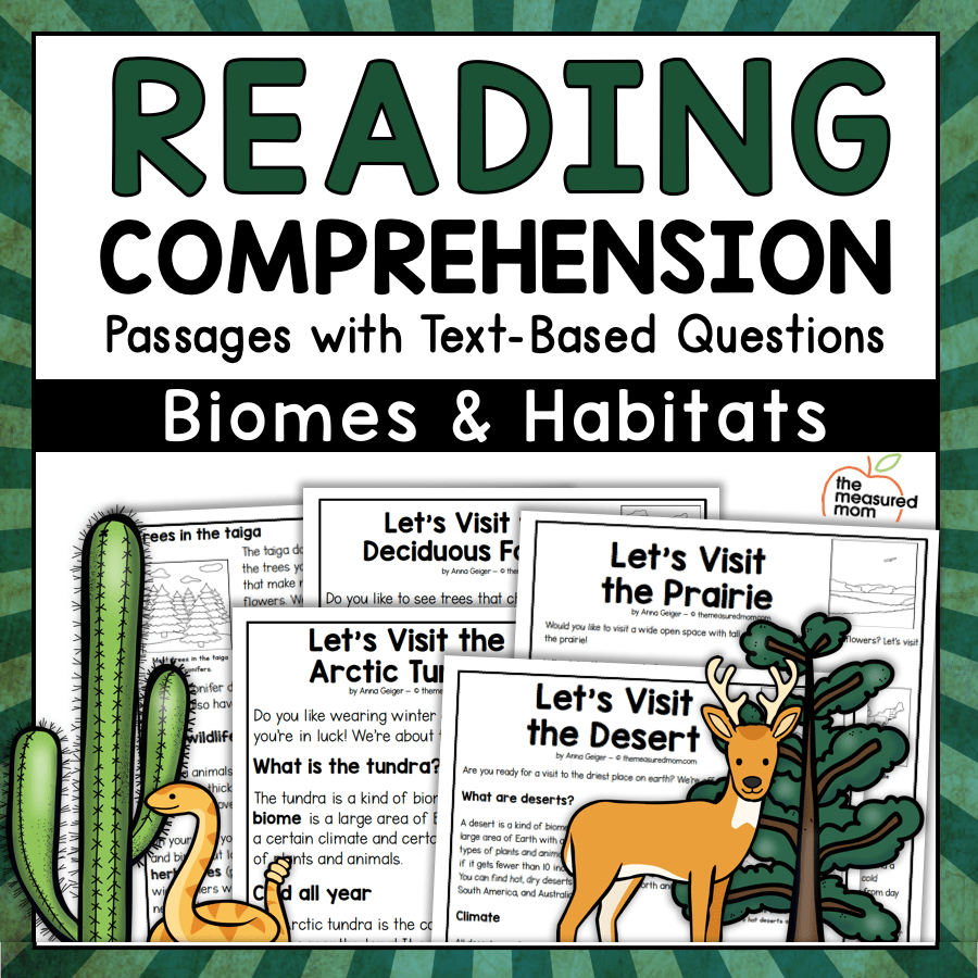 hight resolution of 36 Reading Comprehension Passages about Biomes \u0026 Habitats - The Measured Mom
