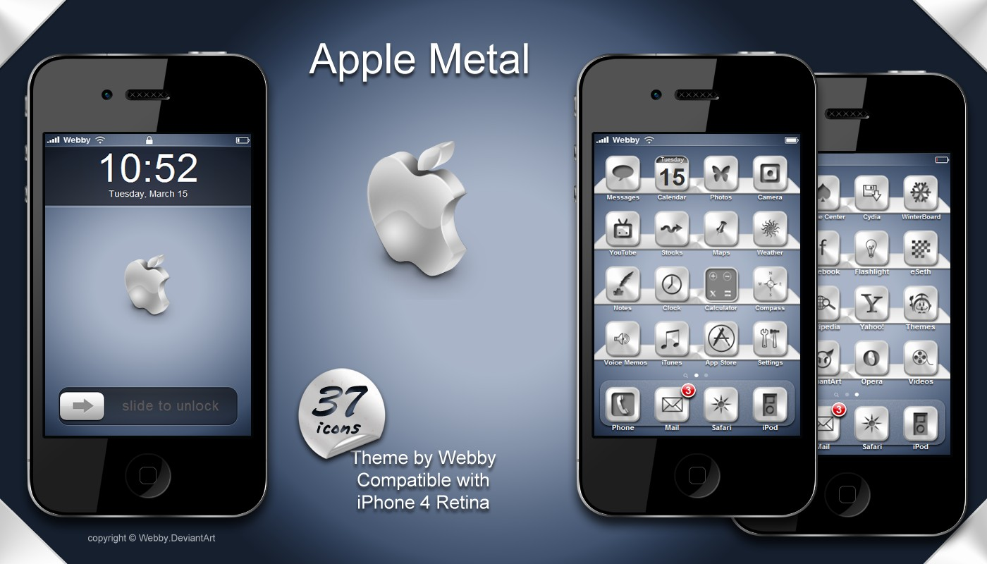 apple iphone4 theme with metal icons
