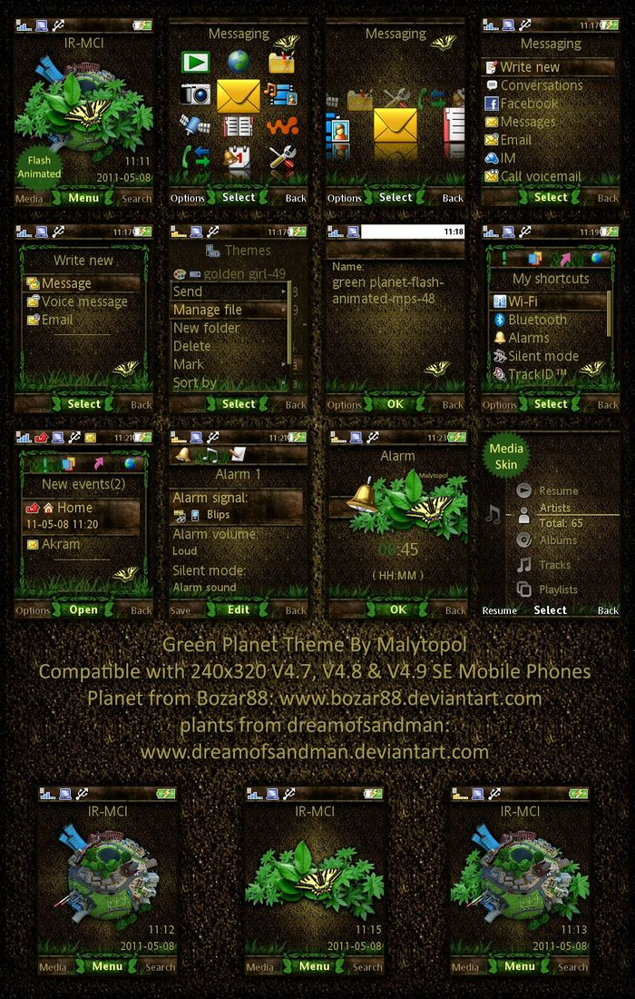 Green planet sony ericsson theme with wallpaper by malytopol