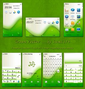 green vector mobile theme for nokia