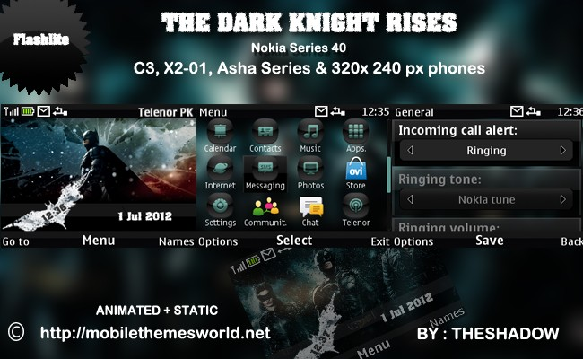 The Dark Knight Rises theme for Nokia C3, X2-01 & Asha 200, 201, 302 phones