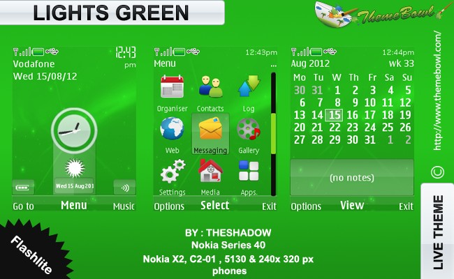 Lights Green theme for Nokia 5130, C2-01, X2-00 and 240 x