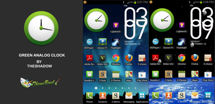 Green AnalogClock Widget free Android app by TheShadow of ThemeBowl
