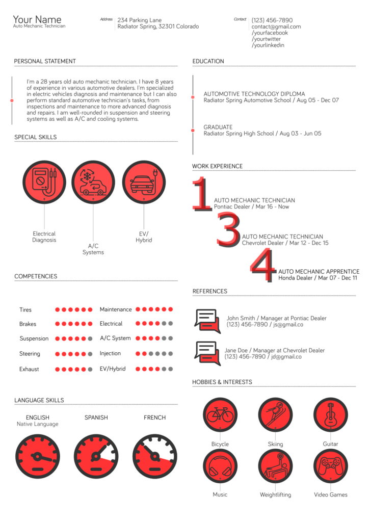Auto Mechanic Resume Template 3