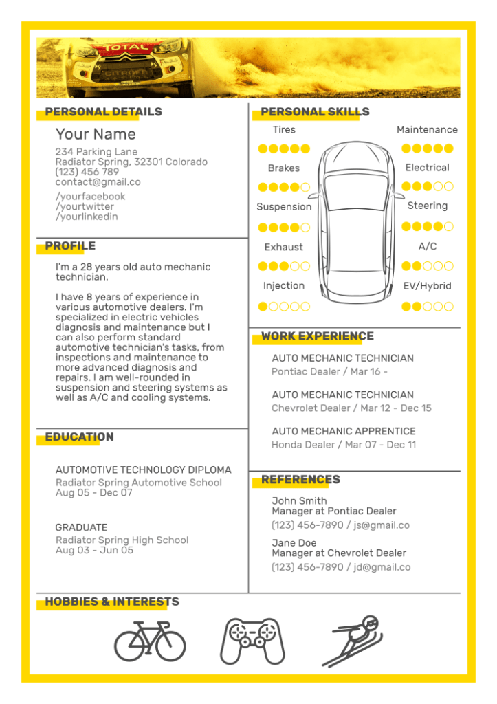 Auto Mechanic Resume Template 4