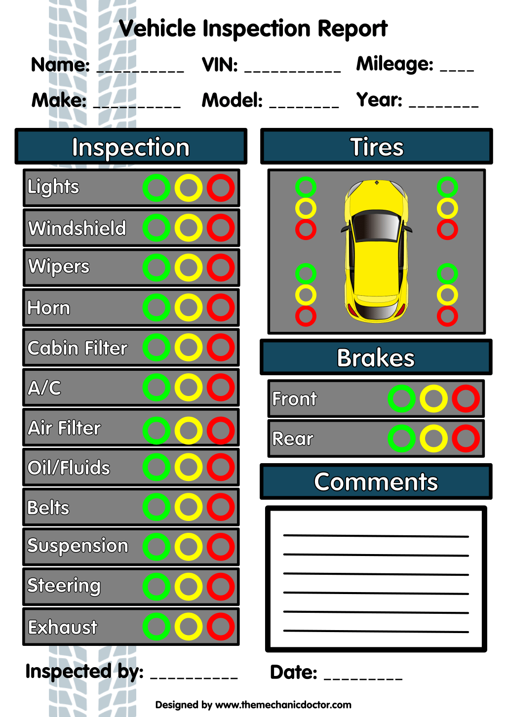 5 Free Vehicle Inspection Forms - Modern Looking Checklists for ...
