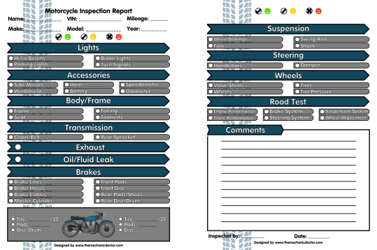 Motorcycle Full Inspection Form