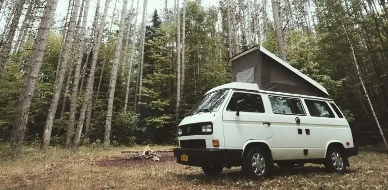 Volkswagen Westfalia RV in the woods