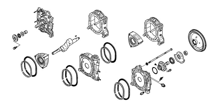Exploded view of a rotary engine