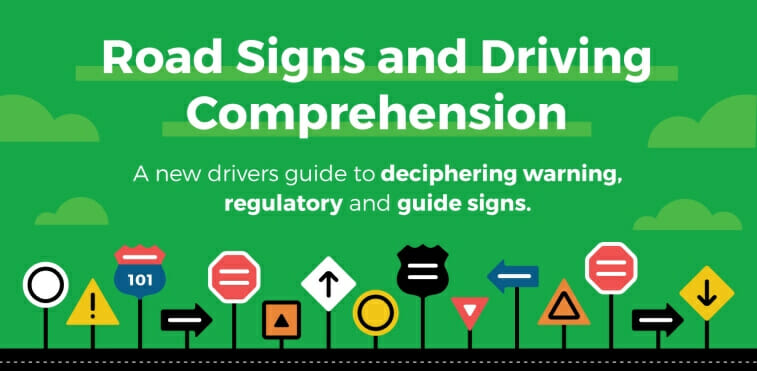 Road signs and driving comprehension infographic