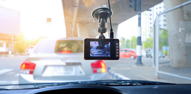 Dash cam installed in a car windshield