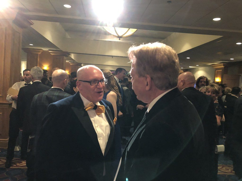 Olaf Vugts of Efteling and Tony Baxter of Walt Disney Imagineering at the Themed Entertainment Association's annual Thea Awards Gala at the Disneyland Hotel, April 7, 2018